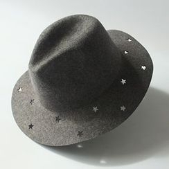 EVEN - Perforated Star Woolen Fedora Hat