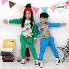 nanakids - Kids Set: Star Pattern Brushed-Fleece Lined Sweatshirt + Sweatpants
