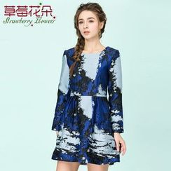 Strawberry Flower - Printed Long-Sleeve A Line Dress