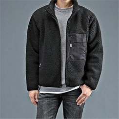 THE COVER - Stand-Collar Fleece Zip-Up Jacket