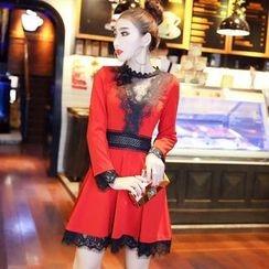 Jolly Club - long-Sleeve Lace-Panel A-Line Dress