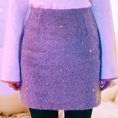chuu - Beaded Wool Blend Furry Mini Skirt