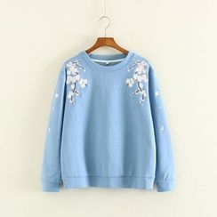 Mushi - Floral Embroidered Sweatshirt