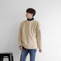 Seoul Homme - Mock-Neck Polar-Fleece Pullover