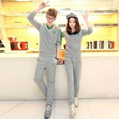 Lovebirds - Set: Couple Color-Block Pullover + Sweatpants