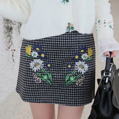 Seoul Fashion - Flower Embroidered Checked Mini Skirt