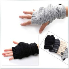 UniMOD - Buttoned Knit Fingerless Mittens