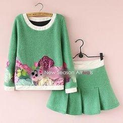 Munai - Set: Appliqué Sweatshirt + A-Line Skirt