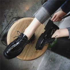 Hipsole - Platform Chunky-Heel Lace-Up Oxfords