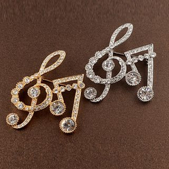 Trend Cool - Rhinestone Musical Note Brooch