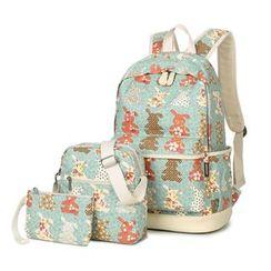 VIVA - Set of 3: Rabbit Print Backpack + Crossbody Bag + Pouch