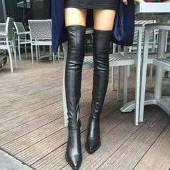 QQ Trend - Chunky Heel Over-the-Knee Boots