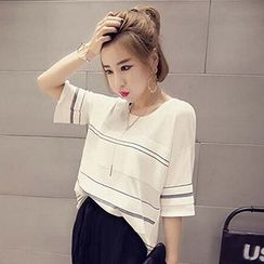 Frontline - Striped Elbow Sleeve Knit T-Shirt