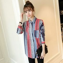 Colorful Shop - Long-Sleeve Stripe Shirt