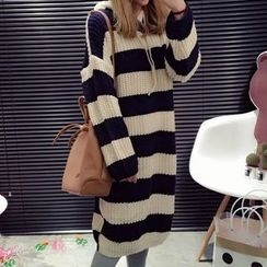 YUKISHU - Chunky Knit Hooded Long Sweater