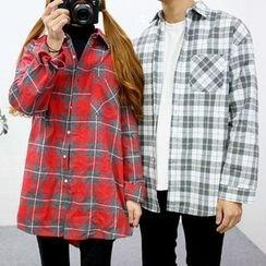 Seoul Homme - Couple Pocket-Front Check Shirt
