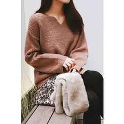 CHERRYKOKO - Cutout-Neck Wool Blend Sweater