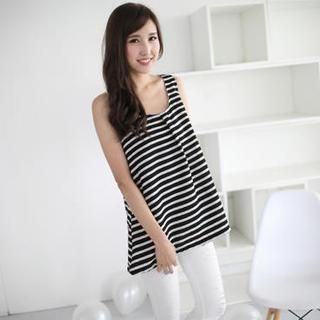 Mini Jule - Chiffon Bow-Back Striped Sleeveless Top