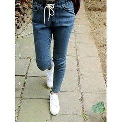 LOLOten - Drawstring-Waist Washed Jeans