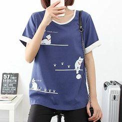 白金天使 - 貓咪印花短袖T恤