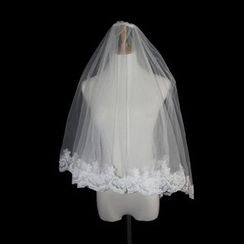 Sky n Sea - Beaded Lace Wedding Veil