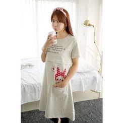 Momnuri - Maternity Graphic Nursing T-Shirt Dress