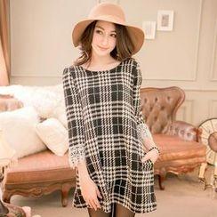 Tokyo Fashion - Lace-Cuff 3/4-Sleeve Plaid Dress