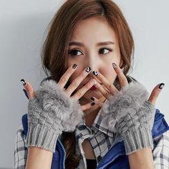 BAIMOMO - Faux-Fur Trim Gloves