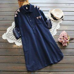YOYO - 长袖刺绣衬衫连衣裙