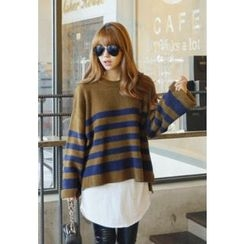REDOPIN - Crew-Neck Stripe Sweater