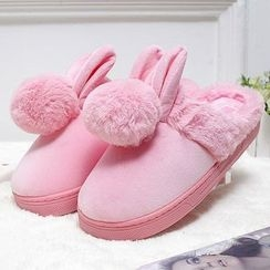 JY Shoes - Rabbit Ear Furry Trim Slippers