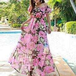 Fashion Street - 碎花露肩雪纺沙滩裙