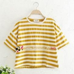 JVL - Short-Sleeve Cropped Striped T-Shirt