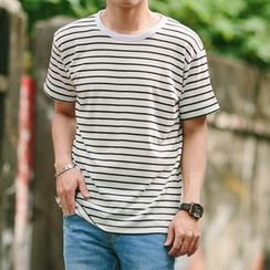 SeventyAge - Short Sleeve Striped T-Shirt