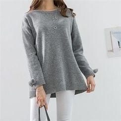 PEPER - Round-Neck Drop-Shoulder Knit Top