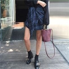 LIPHOP - Flapped Detail Band-Waist Plaid Skirt