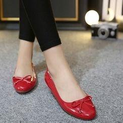 Monde - 蝴蝶结漆皮平跟鞋