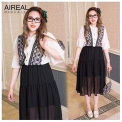 AIREAL - Lace-Panel Chiffon Dress