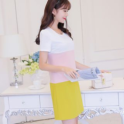 Nyssa - 修身拼色短袖连衣裙