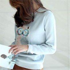 YOOM - Owl-Appliqué Wool Blend Knit Top