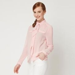 O.SA - Long-Sleeve Ruffle Chiffon Blouse