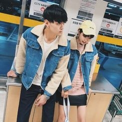 Simpair - Couple Matching Denim Panel Fleece Jacket