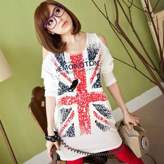 Tokyo Fashion - Cut-Away Shoulder Union Jack Tunic