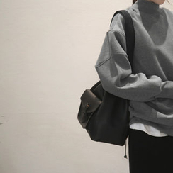 NANING9 - Mock-Neck Oversized Sweatshirt