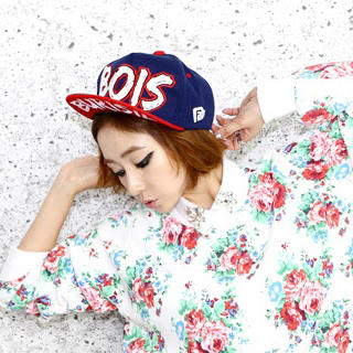 Momiton - Color-Block Printed Baseball Cap