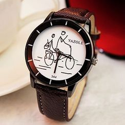 YAZOLE - Printed Faux-Leather Strap Watch