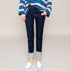Envy Look - Stitched Straight-Cut Jeans