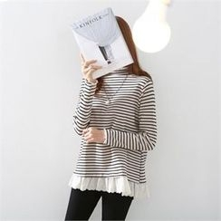 PIPPIN - Lace Layered-Edge Striped Top