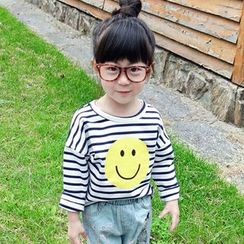 CUBS - Kids Smiley Face Print Striped Long Sleeve T-Shirt