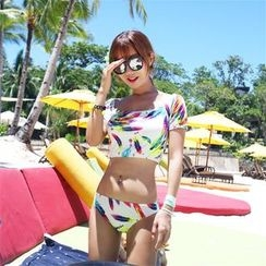 Rachel Swimwear - Set: Print Short-Sleeve Rashguard + Swim Bottom